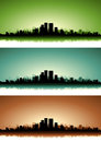 Summer Cityscape Banner Set Stock Photo
