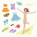 Summer clothes bright for young woman Stock Photos