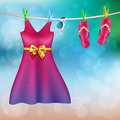 Summer clothes drying outdoor a vector illustration of Stock Photos