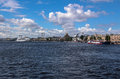 Summer clouds above neva river in saint petersburg a daytime panoramic view of the Stock Photo