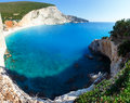 Summer coast with beach  (Lefkada, Greece). Stock Photos