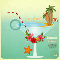 Summer cocktail card in retro style vintage rest concept and hawaiian items illustration Stock Photography