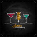 Summer cocktail party design chalk background