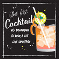 stock image of  Summer Cocktail Party Poster. Hand drawn illustration of cocktail.