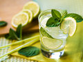 Summer cocktail refreshing with lime and mint Royalty Free Stock Images