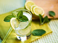 Summer cocktail refreshing with lime and mint Royalty Free Stock Image