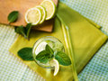 Summer cocktail refreshing with lime and mint Royalty Free Stock Photos