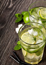 Summer cold cocktail drink mojito on dark background Stock Photography
