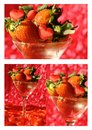 Summer collage with strawberry and hearts red Stock Photography