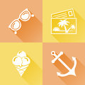 Summer colorful flat icons set of about Royalty Free Stock Images