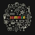 Summer colorful gradient with line icons set