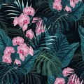 Summer colorful Hawaiian seamless pattern with tropical plants.