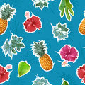 Summer colorful seamless pattern with tropical plants and hibiscus flowers