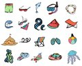 Summer and colorful set of hand drawn vector icons beach in the summer theme isolated on white Royalty Free Stock Images