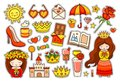 Summer colorful stickers. Set of badges, patches, pins.