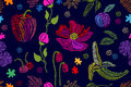 Summer colors. Floral seamless vector pattern with embroidered fruits, wildflowe