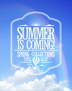 Summer is coming poster sale spring collections bright text design against sunny sky with rainbow Royalty Free Stock Photos