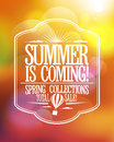 Summer is coming spring collections total sale design fashion poster Stock Photography