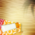 Summer composition cream towel Stock Image