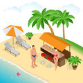 Summer concept of sandy beach. Beach summer couple on beach vacation holiday relax in the sun on their deck chairs under Royalty Free Stock Photo