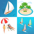 Summer concept of sandy beach. Idyllic travel background. Flat 3d vector isometric illustration.