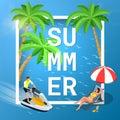 Summer concept of sandy beach. Idyllic travel background. Flat 3d vector isometric illustration.