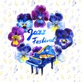 Summer concert Jazz and Blues music festival. Poster background template. Royalty Free Stock Photo