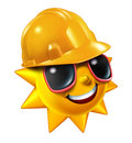 Summer construction and renovation work projects in the hot season as a happy sun character with sunglasses wearing a yellow Royalty Free Stock Images