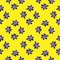 Summer contrast seamless pattern with daisy doodle ornament on yellow background Royalty Free Stock Photo
