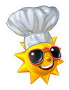 Summer cooking and barbecue grilling in the outdoors for holidays as a bright happy sun character wearing a chef hat as a food and Stock Image