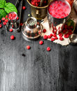 Summer cooling cocktail of wild raspberries. Royalty Free Stock Photo