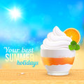 Summer creamy dessert on sunny beach with orange slice vector illustration Stock Image