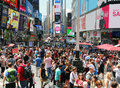Summer Crowd In Times Square Royalty Free Stock Photo