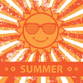 Summer cute illustration with sun Royalty Free Stock Photo
