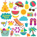 Summer day elements clip art set Royalty Free Stock Photo