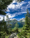 Summer day on jenny lake vertical panorama of in grand teton national park wy Royalty Free Stock Photo