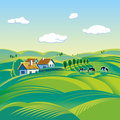 Summer day landscape morning rural with cows and small houses no gradient mesh and other effects Royalty Free Stock Photos