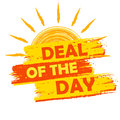 Summer deal of the day, yellow and orange drawn label Royalty Free Stock Photo