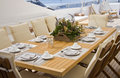 Summer deck served table on yacht sun Royalty Free Stock Photos