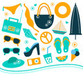 Summer design element set various and vacation objects vector illustration Stock Image