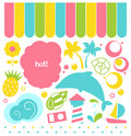 Summer design elements colorful set in pink yellow blue and green vector illustration Royalty Free Stock Photo