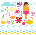 Summer design party elements underwater for your vector Stock Images