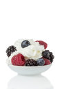 Summer dessert with fresh and delicious berries Royalty Free Stock Photo