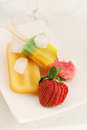 Summer dessert fruit ice with ice and fresh strawberries Stock Photo
