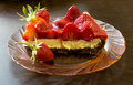Summer dessert - strawberry tart cake with cream filling and baking mold