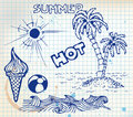 Summer doodle elements Stock Photography