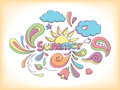 Summer doodle hand drawn sketch style vector illustration with elements Royalty Free Stock Photos