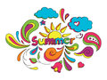 Summer doodle hand drawn sketch style vector illustration with elements Stock Photo