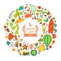 Summer doodles design, travel vacation illustration in wreath shape