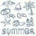 Summer doodles set design elements Royalty Free Stock Image